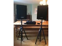 Pulsar PA system inc speakers, speaker stands, mic & MP3 connection