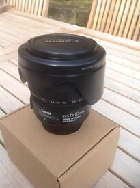 Canon 15-85 3.5-5.6 IS USM lens for SLR cameras with original hood and front and rear caps
