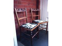 2 Very Rare Antique Restored Edwardian Chairs Only No Table