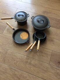Heavy duty cast iron pan set