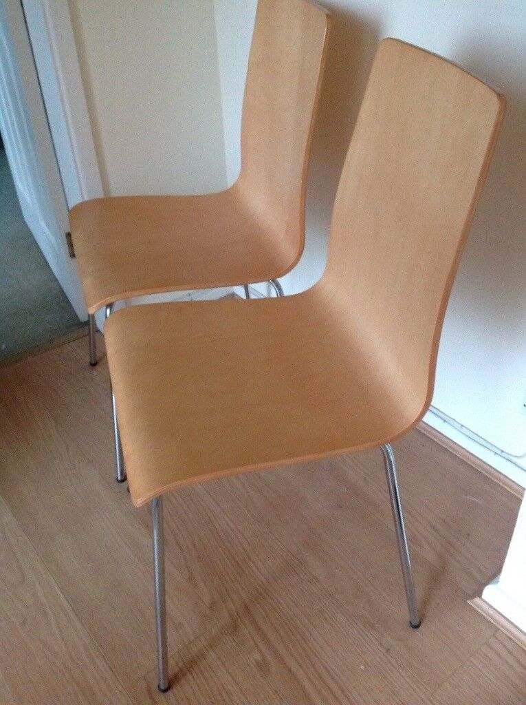 Pair Beech Wood Dining Chairs (John Lewis)