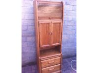 Stunning, quality chunky pine roll top cabinet, /cocktail cabinet/office unit