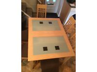 JP Coyle contemporary glass and Maple extending dining table and 6 upholstered chairs