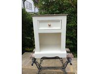 Set of two upcycled bedside tables in antique white