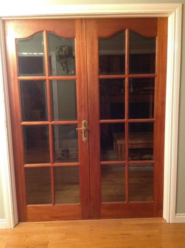 Brilliant 1 Pair Of Rebated Mahogany French Doors With Bevelled Door Handles Collection Dhjemzonderlifede