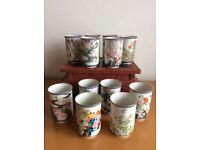 12 Blossom Tea Cups FRANKLIN 1981