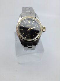 GENUINE ROLEX LADYS OYSTER PERPETUAL GOLD/STAINLESS STEEL BLACK DIAL REF 6619 STUNNING CONDITION
