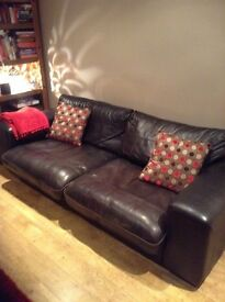 Dark brown leather 3 seater sofa and matching arm chair