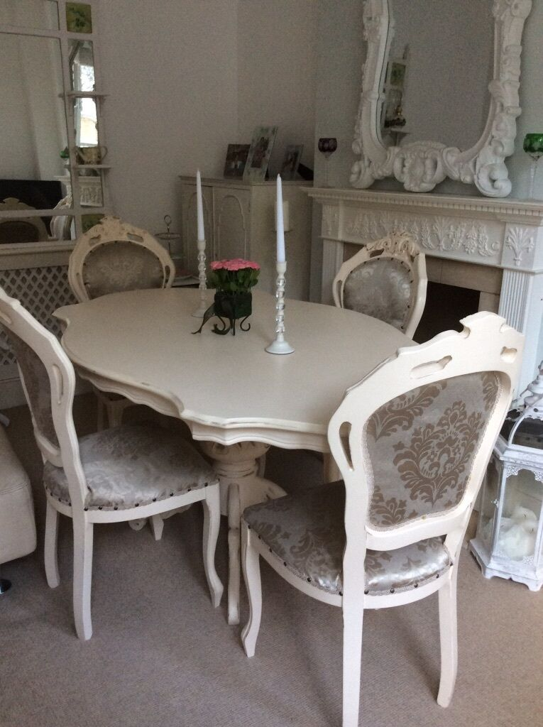 Gorgeous French Louis Shabby Chic Cream Dining Table 4
