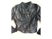 Topshop Ladies Faux Black Leather Biker Jacket size 14 tall