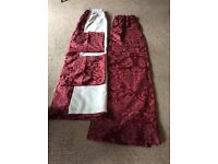 """DORMA LINED BURGUNDY CURTAINS 67""""w x 72""""d. MATCHING CUSHION COVERS. EXCELLENT CONDITION."""