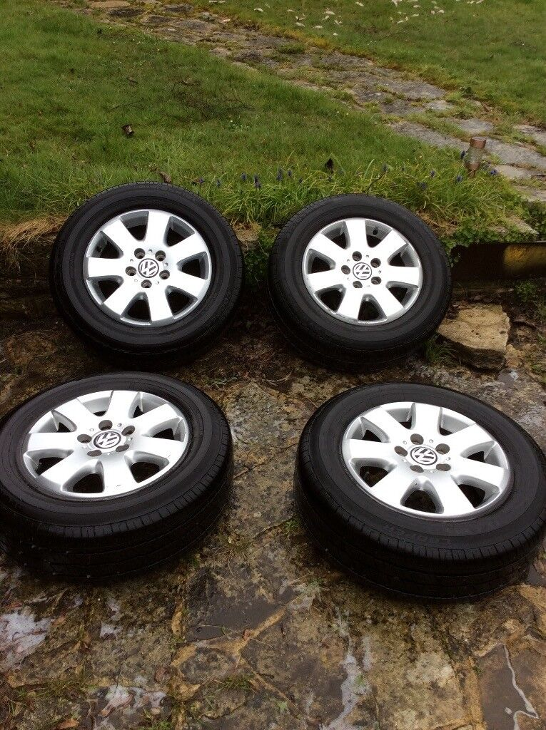 """16"""" VW T5 Alloy Wheels with nearly new tyres."""