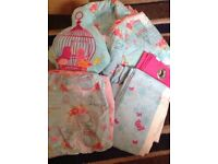 Girls duvet cover, curtains, throw and cushion in Birdcage design