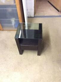 Brown faux leather bedside tables