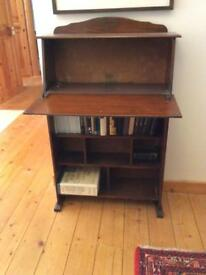 1930s drop down writing desk with book case