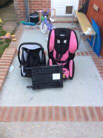 Baby seat, base and toddler seat