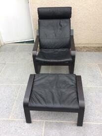Ikea Poang Black Leather Chair and Stool