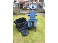Blue Indian Head Massage Folding Chair with carry bag on wheels