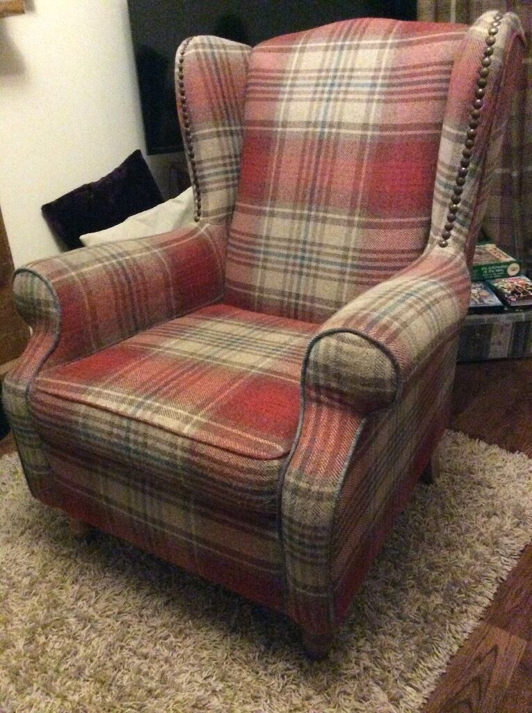 Next armchair in red Stirling check with cushion | in ...