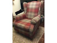 Next armchair in red Stirling check with cushion