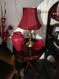 VINTAGE OCTANGLE SIDE TABLE WITH DRAWS EITHER SIDE CASTERS
