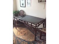 Cane and Glass Dining Table and 2 Chairs