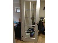 2 X 10 pane white glazed doors