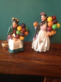 Royal Doulton Figurines. Biddy Penny Farthing and Old Balloon Seller.