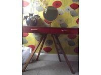 Fonteyn Dressing Table, Walnut Wood with Red