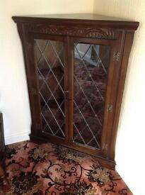 Corner solid wood glass cabinet