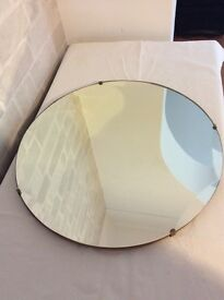Vintage 1930s Art Deco Frameless scalloped edge round wall mirror