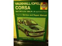 Haynes Manual For Vauxhall Corsa B, 97-00