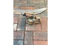 Vintage scythe and blow torch ideal as garden/patio decoration