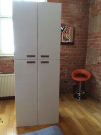 2 white glossy cabinets