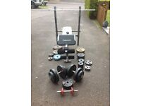 Maxi muscle weights bench, 2 bars, Dumbbells and assorted plates