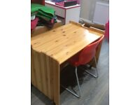 Antique pine desk and red high gloss chair