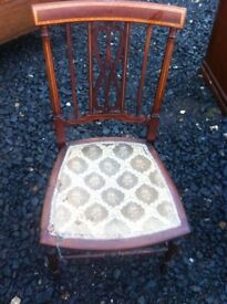 Petite Edwardian inlaid chair in need of some upholstering