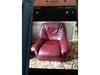 2 seater sofa ,armchair and swivel chair . Burgundy leather . Free to collect Rochester area