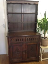 Lovely dark wood vintage dresser for sale. Perfect for shabby chic project