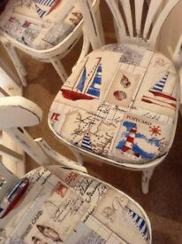 Set of four seasidey dining chairs shabby chic white distressed