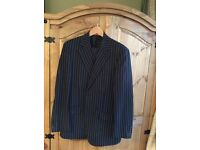 Navy pinstriped pure super 120s wool suit by French Eye