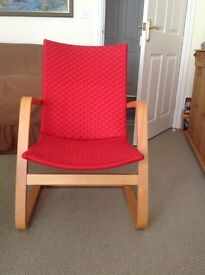 Red Occasional chair with bent plywood frame