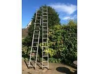 Set of HAILO Aluminium Ladders plus roof ladder attachment set.
