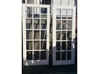 TWO SOLID WOOD WHITE GLASS PANNEL INTERIOR DOORS