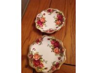 Royal Albert old country rose two small plates