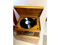 Vinyl Record Player with Radio CD and Cassette in retro antique style case.