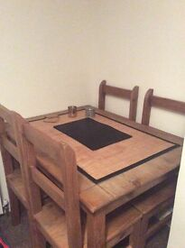 Pine dining table and 4 pine chairs