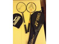Badminton raquets and shuttlecocks, one Yonex junior CBX-2 carbon steel, one adult Slazenger
