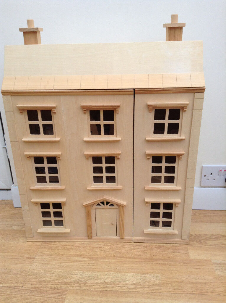 Handmade Three Storey Wooden Dolls House Unpainted With 50+ Pieces
