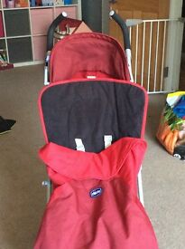 Chicco red London stroller with footmuff and raincover